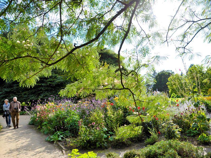 Zwei Spaziergänger gehen an einem bunt blühendem Garten vorbei