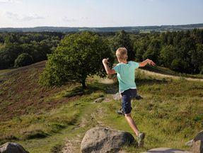 Junge der einen Hügel hinab läuft