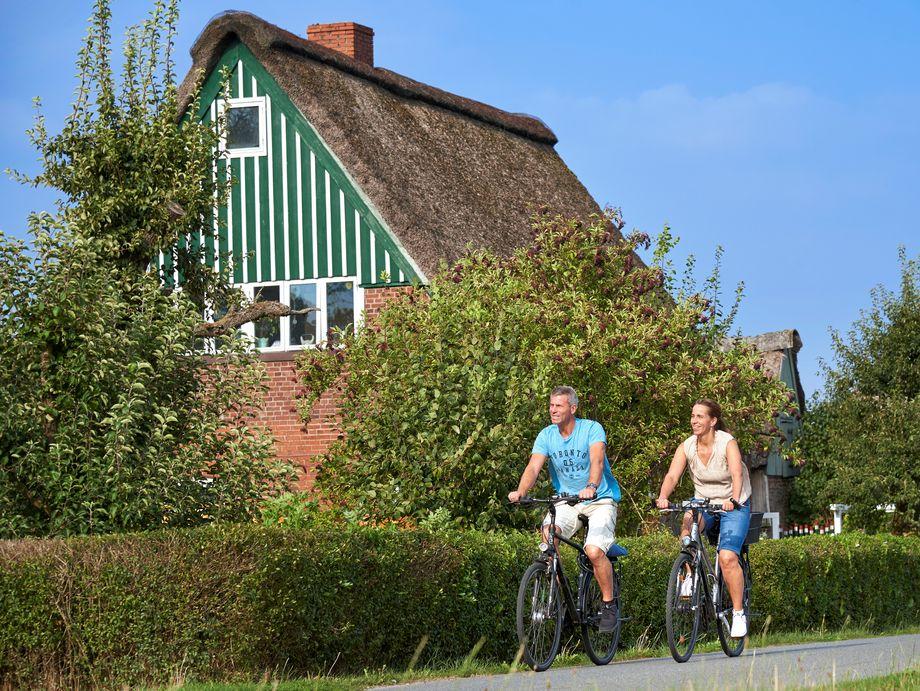 Ein Paar fährt mit dem Rad auf einer Dorfstraße an einem typisch norddeutschen Haus mit Hecke vorbei