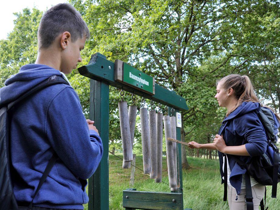 Zwei Kinder spielen an einem Outdoor Xylophon im Wald
