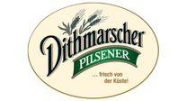 """""""Dithmarscher Pilsener"""" auf gelben Untergrund."""